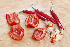 Removing pepper seeds Royalty Free Stock Photography