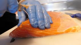 Removing Pin Bones from Salmon stock video