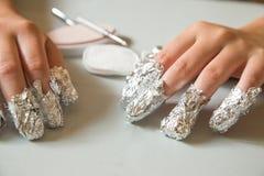 Removing shellac nails Royalty Free Stock Photo