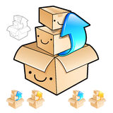 Removing the small boxes in a big box Illustration. Product and Royalty Free Stock Photo