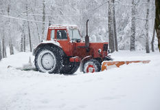 Removing snow after winter storm Stock Photos
