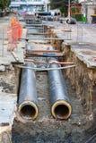 Remplacement de canalisation de l'eau Photographie stock libre de droits