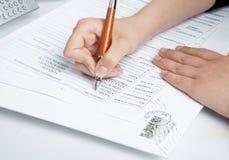 Remplir documents. Image stock
