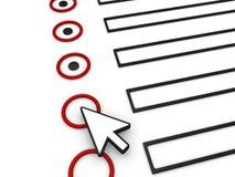 Remplir le formulaire utilisant la flèche indicatrice de souris Photographie stock libre de droits