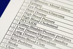 Remplir questionnaire d'antécédents médicaux Images libres de droits