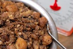 Remplissage chevronné cuit de viande Photographie stock libre de droits