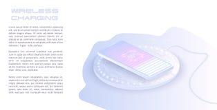 Remplissage sans fil de la batterie de smartphone Futur concept Le progr?s de charger la batterie du t?l?phone illustration de vecteur