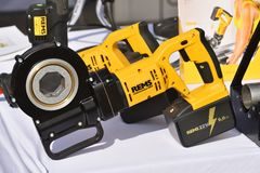 Rems power tools. Vilnius, Lithuania - April 25: Rems power tools on April 25, 2019 in Vilnius Lithuania. Rems developing products for the pipe working stock photos