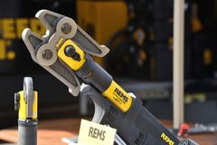 Rems power tools. Vilnius, Lithuania - April 25: Rems power tools on April 25, 2019 in Vilnius Lithuania. Rems developing products for the pipe working stock image