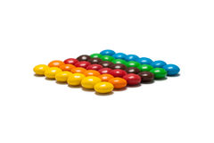 Remsor av den färgrika chokladen - bestruken godis Royaltyfri Bild