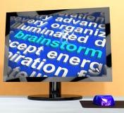 Remue méninge de Word sur l'ordinateur signifiant la pensée créative illustration libre de droits