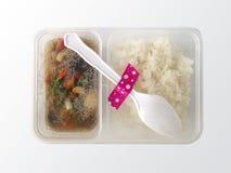Remuez Fried Vegetables et le riz blanc cuit dans la boîte en plastique de paquet d'isolement sur le fond blanc images stock
