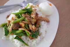 Remuez la tranche sainte frite de poulet de basilic avec un oeuf et riz de cuisson de plat images stock