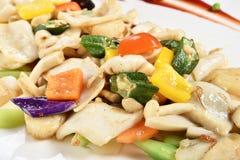 Remuez le calmar frit, escargot d'eau douce avec des légumes photographie stock