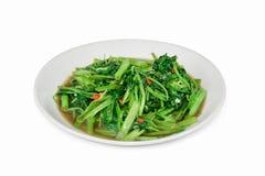 Remuez le daeng de fai de boong de Fried Water Spinach ou de PAK d'isolement sur le petit morceau images libres de droits