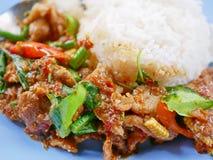 Remuez le porc frit avec la pâte rouge Moo Pad Prik Gaeng de cari avec du riz blanc images libres de droits