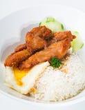 Remuez le poulet avec les légumes de riz et l'oeuf sur le plat images libres de droits