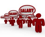 Remuneración de la paga de la gente de las burbujas del discurso de las palabras del sueldo que habla Imagenes de archivo