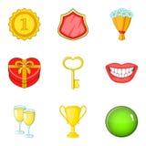 Remuneration icons set, cartoon style. Remuneration icons set. Cartoon set of 9 remuneration vector icons for web isolated on white background Stock Images