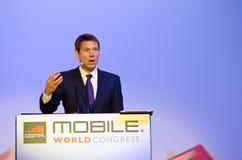 René Obermann at MWC 2012 Royalty Free Stock Photo