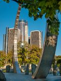 Ren Center and Modern monument. Hart plaza circle monument in downtown detroit royalty free stock photo