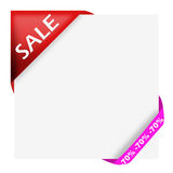 Ren corner ribbon with sale sign. And seventy percen Royalty Free Stock Photo