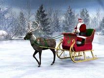 Ren, das einen Pferdeschlitten mit Weihnachtsmann zieht. Stockbilder