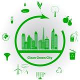 Ren grön stad Arkivbild