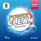 Ren makt - förpacka för tvål- och tvätteritvättmedel Illustration för vektor för etikett för produkt för tvagningpulver vektor illustrationer