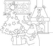 Ren med gåvan och julgranen Arkivbilder