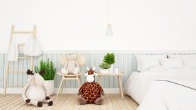 Ren med giraff- och björndockan i ungerum eller bedroom--3Dtolkning stock illustrationer