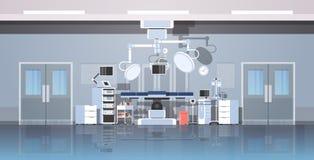 Ren medicinsk kirurgi för sjukhusoperationsbord att hyra rum det inre horisontalbanret för intensiv modern utrustningklinik för t stock illustrationer