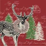 Ren mit Beerenkranz und Weihnachtsbäumen Lizenzfreies Stockfoto