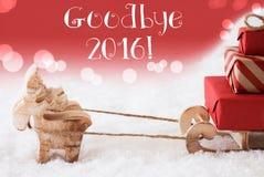 Ren mit Schlitten, roter Hintergrund, Text Auf Wiedersehen 2016 Stockfotos