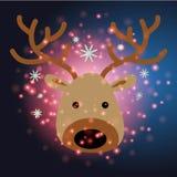 Ren mit Weihnachtshintergrund und Grußkartenvektor stock abbildung