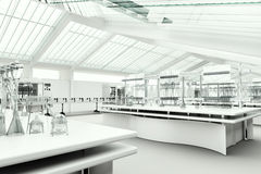 Ren modern vit laboratoriuminre Royaltyfri Bild