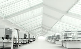 Ren modern vit laboratoriuminre Arkivfoton