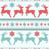 Ren och snöflingor seamless textur för jul blå vinter vektor illustrationer