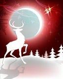 Ren på röd julbakgrund stock illustrationer