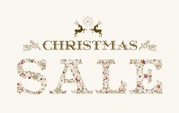 Ren-Plakatdesign der Weinlese-Weihnachtsverkaufsjahreszeit buntes Stockbild
