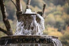 Ren sötvattenvattenfall i skog i bergen Gammal fontain stänger sig upp arkivfoton