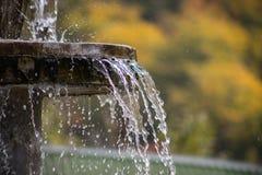Ren sötvattenvattenfall i skog i bergen Gammal fontain stänger sig upp royaltyfri bild