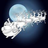 Ren und Santa Claus mit Weihnachtshintergrund und Grußkartenvektor stock abbildung