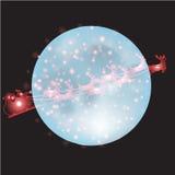 Ren und Vollmond mit Weihnachtshintergrund und Grußkartenvektor vektor abbildung