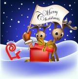 Ren- und Weihnachtsmarkierungsfahne in der Weihnachtsmann-Hand Lizenzfreies Stockfoto