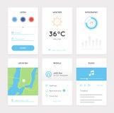 Ren vit mobil sats för rengöringsduk UI Fotografering för Bildbyråer