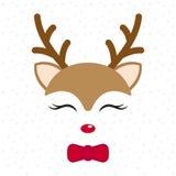 Rena bonito Cervos do bebê Personagem de banda desenhada do Feliz Natal Menino com laço ilustração stock