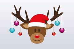 Rena bonito com as bolas da árvore de Natal e o chapéu de Santa ilustração stock
