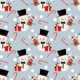 Rena bonito e boneco de neve no teste padrão sem emenda dos bastões do costume, da caixa de presente e de doces do inverno ilustração royalty free