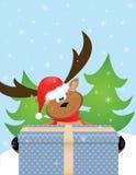 Rena com chapéu de Santa ilustração royalty free